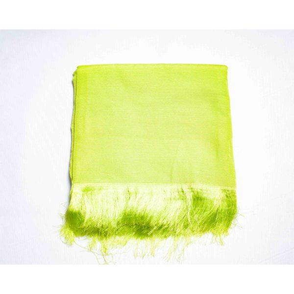 Aso Oke Silk Wrapper 100606 Lemon Green