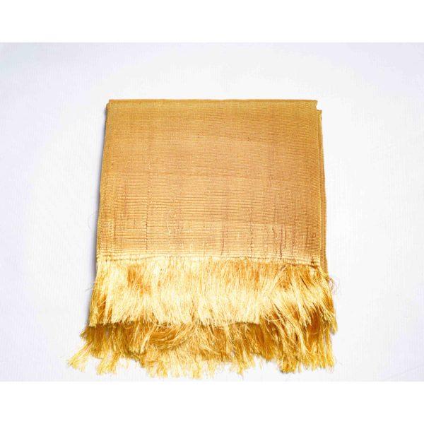 Aso Oke Silk Wrapper 100606 Mustard Gold