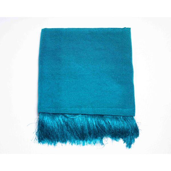Aso Oke Silk Wrapper 100606 Teal Blue
